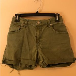 Green Levi's Cut Off High Waisted Shorts